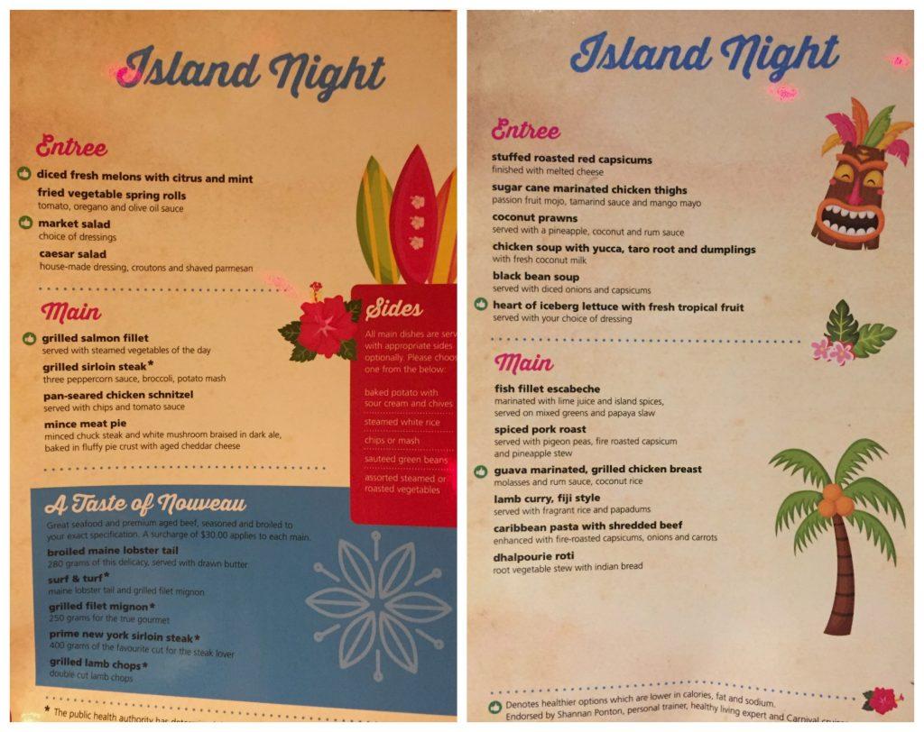 Island night menu on Carnival Legend