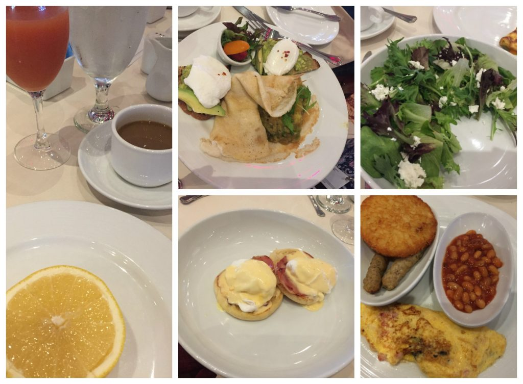 Selection of breakfast items in Truffles restaurant on Carnival Legend