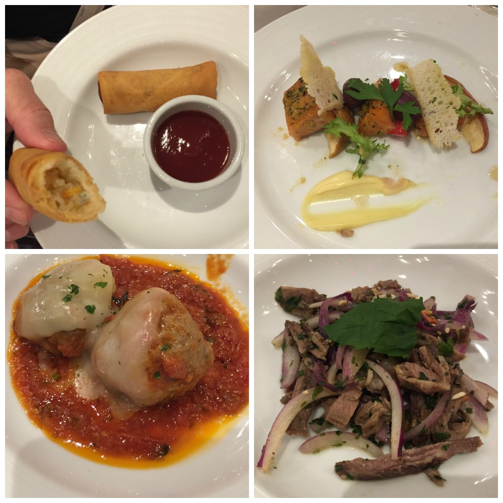 Selection of entrees from dinner on Carnival Legend