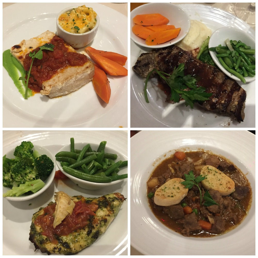 Selection of main meals on Carnival Legend