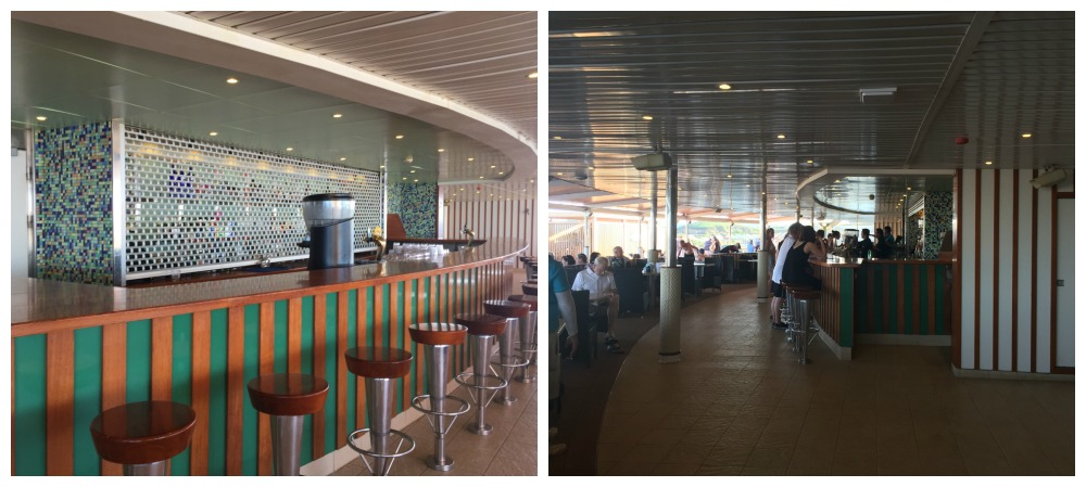 Serenity bar and tables to eat at on Carnival Legend