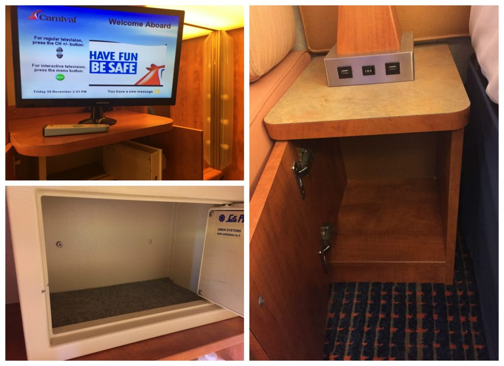 TV - Small safe & Bedside table with USB slots on Carnival Legend
