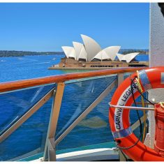 The Sydney view from a pod at Serenity on Carnival Legend