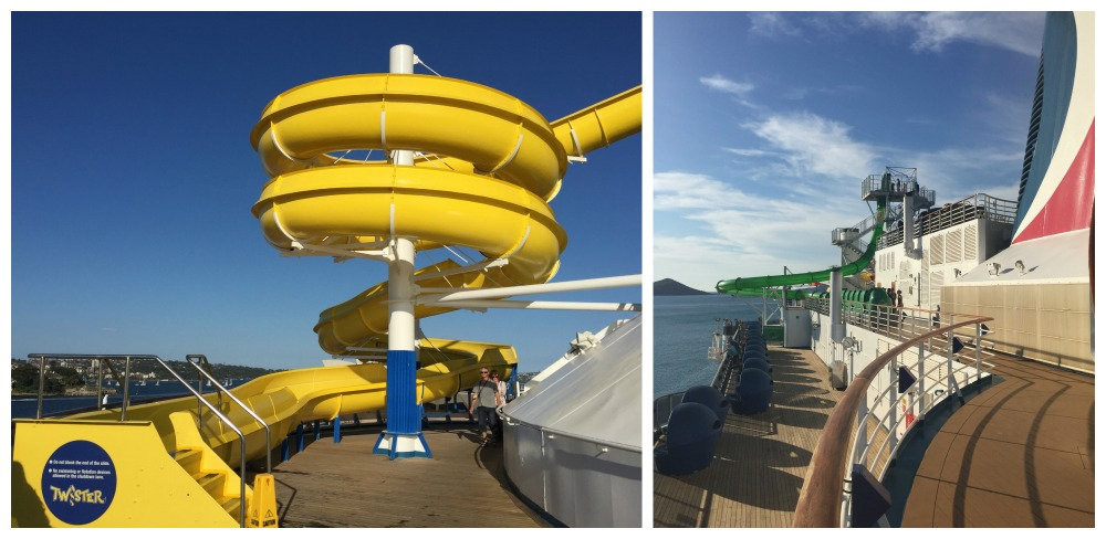 Water slides and sports deck area on Carnival Legend