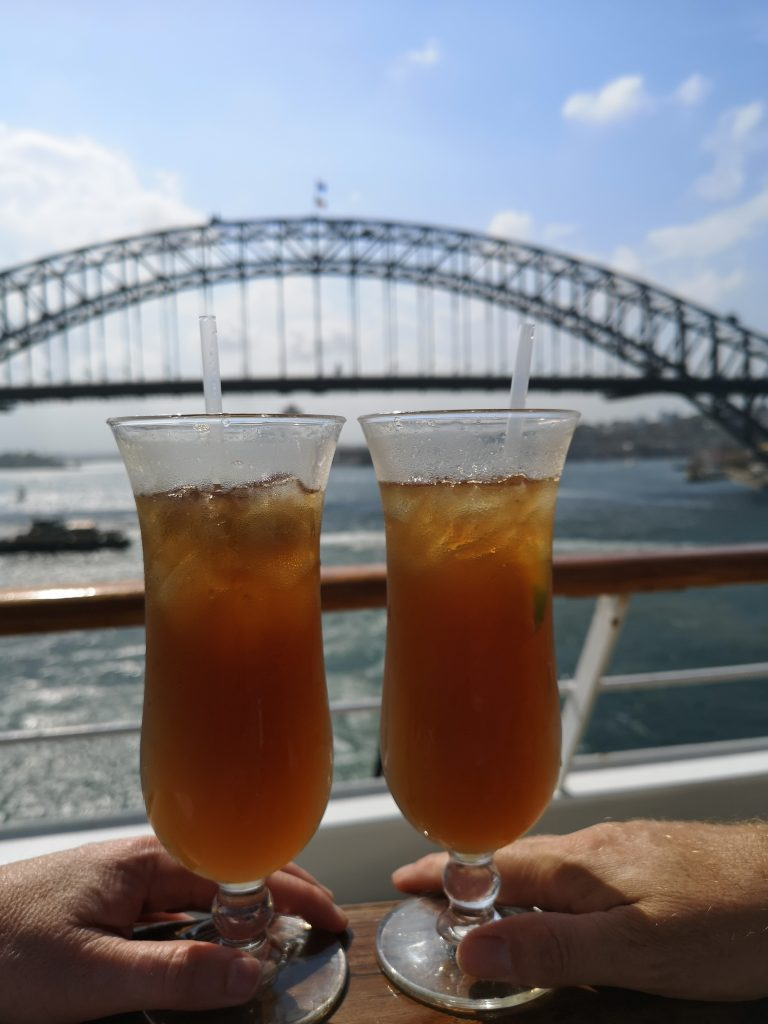 Cocktails at Sail away from Sydney on Pacific Eden
