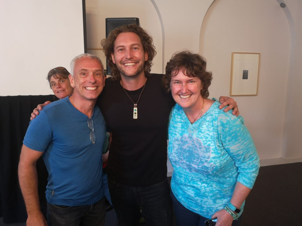 Dee Williams photo bombing us with Bryce Langston at the first Tiny House Festival Australia